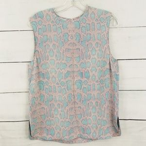 Equipment Silk Animal Print Pastel Blouse Size S
